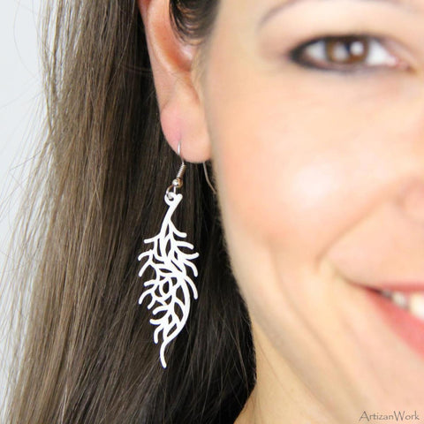Coral Fan Lx - Earrings (Black or White)