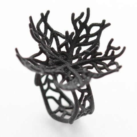 Coral Fan Lg - Ring (Black or White)
