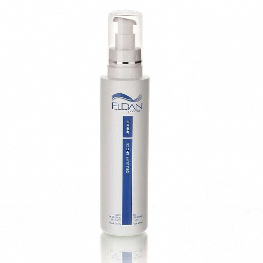 Eldan Cosmetics - Cellular Shock UNIQUE soft cleansing fluid.  Created to gently, yet deeply remove make-up from any kind of skin. It removes make-up, dead cells, and sebaceous secretions while maintaining the hydrolipidic equilibrium. The cleansing action is particularly gentle thanks to rice and oat extracts.