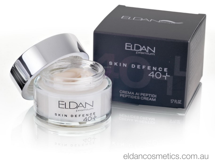Eldan Cosmetics - Skin Defence Peptides Cream 40+  Enriched with anti-aging peptides to help stimulate the production of collagen, elastin and hyaluronic acid through the use of fibroblasts.  Dedicated to young skin, this cream contains a pool of ingredients that help prevent the appearance of the first signs of aging.