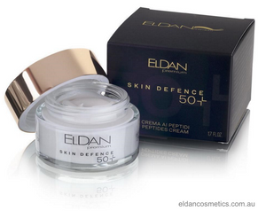 Eldan Cosmetics - Skin Defence Peptides Cream 50+  Dedicated to mature skin, this cream is soft, delicate and enriched with anti-aging properties that help stimulate the production of collagen, elastin and hyaluronic acid by fibroblasts.