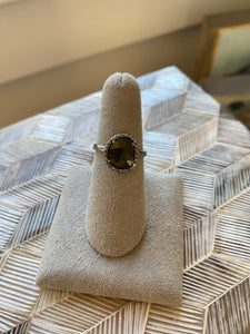 Tourmaline and Diamond Halo Ring Oblong Shape