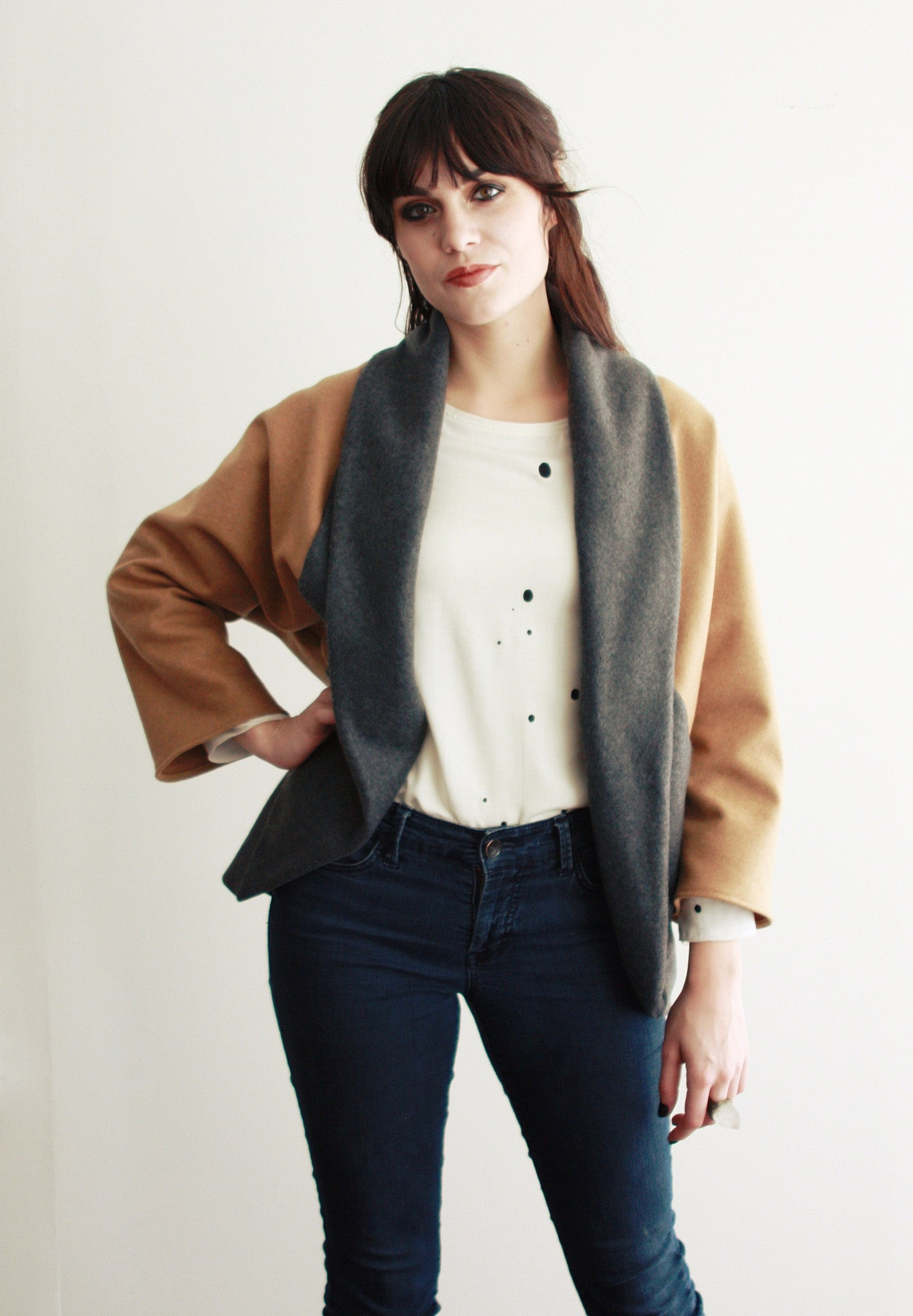Camel And Gray Wool Cardigan