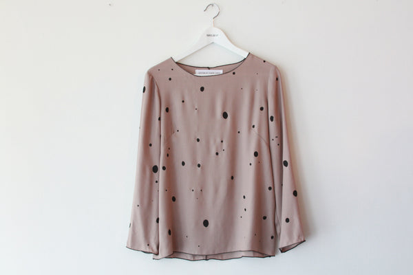 Popover Top--Speckle Print--Mocha/Black--Wholesale