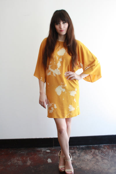 Wholesale--FRIDA Dress--Mustard--Geography Print