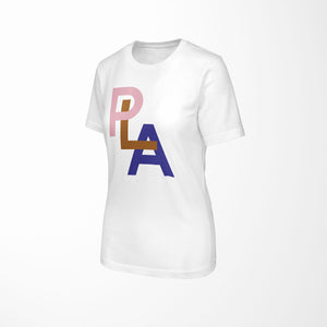 PLA Relaxed Fit Women's 100% Cotton White T-Shirt angle view