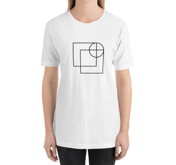 white relaxed fit women's t-shirt with architect print on model