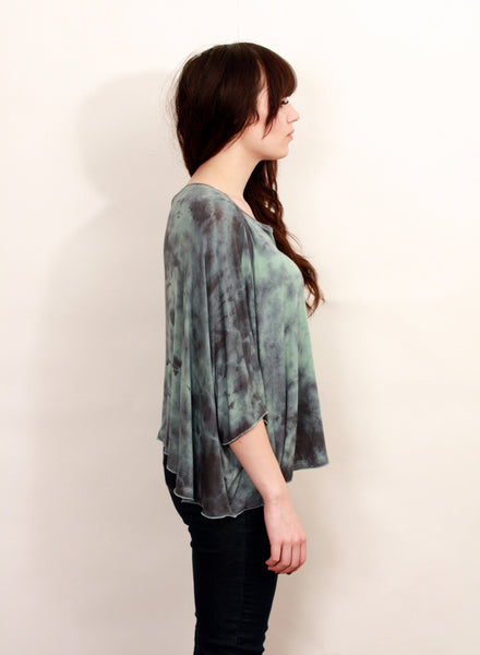 Aqua and Blue Dyed Knit Poncho Top--Wholesale