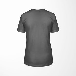 dark gray relaxed fit women's t-shirt with architect print back