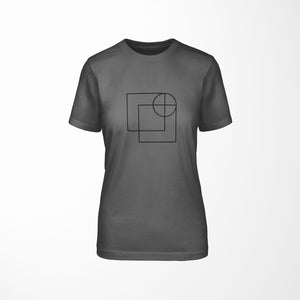 dark gray relaxed fit women's t-shirt with architect print