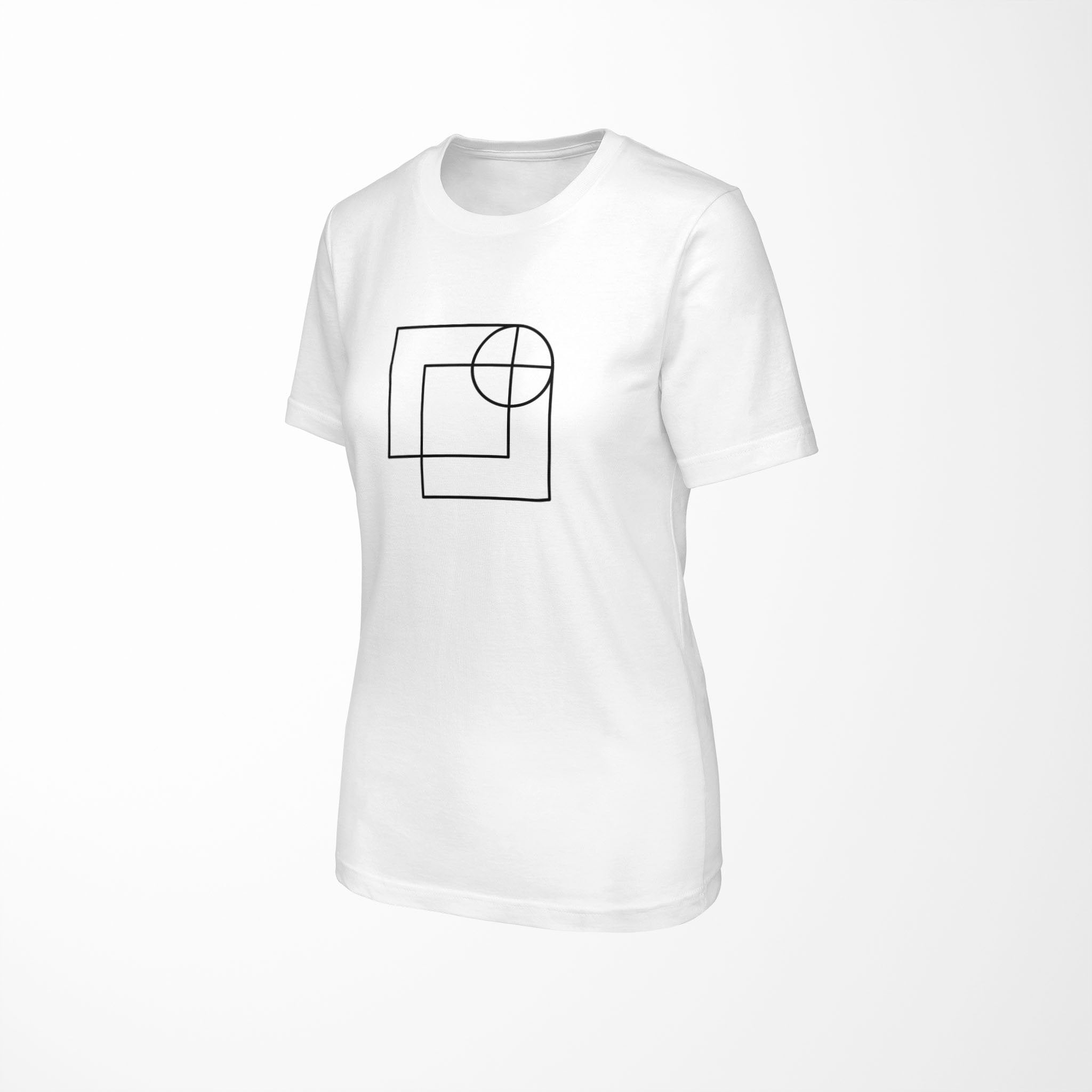 white relaxed fit women's t-shirt with architect print angle view