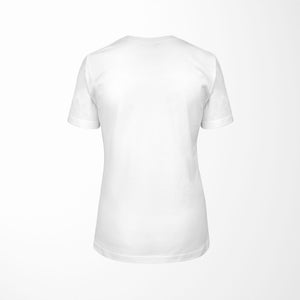 white relaxed fit women's t-shirt with architect print back