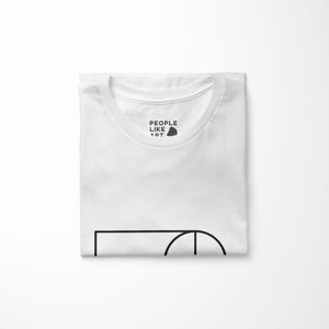 white relaxed fit women's t-shirt with architect print folded