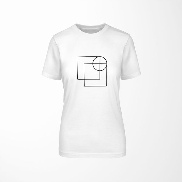 white relaxed fit women's t-shirt with architect print