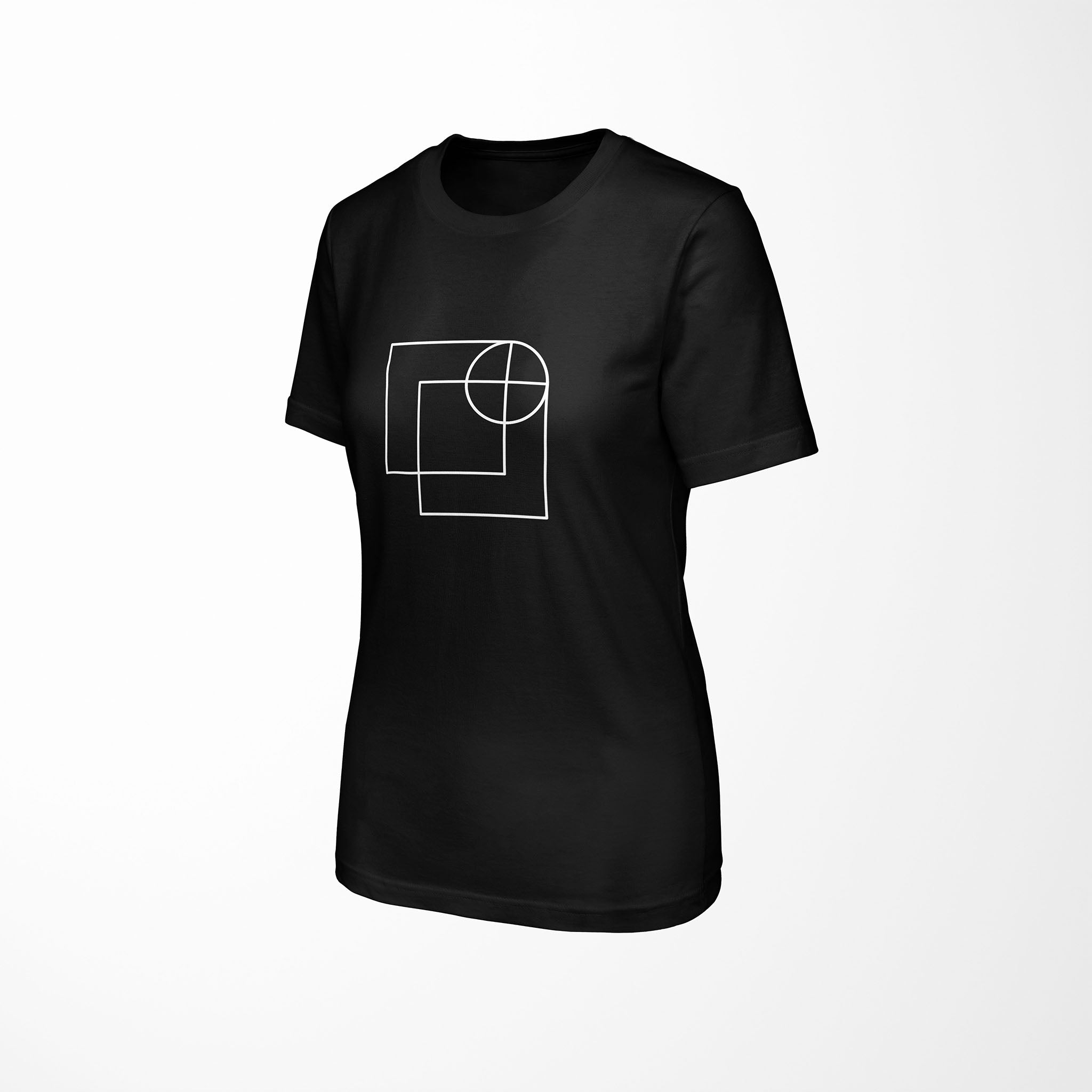 black relaxed fit women's t-shirt with architect print side angle