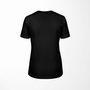 black relaxed fit women's t-shirt with architect print back