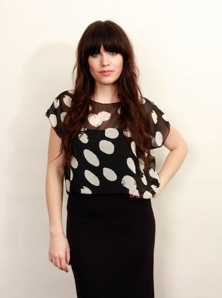 Black and White Dots Print Crop Top--Wholesale