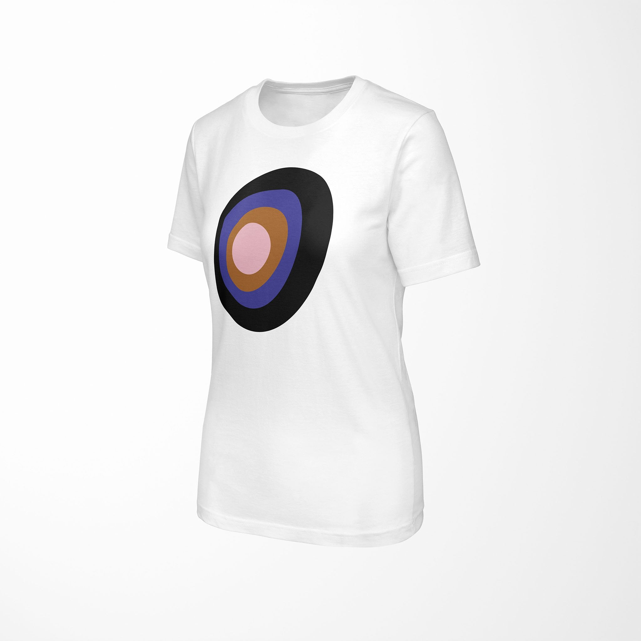 CONCENTRIC Relaxed Fit Women's 100% Cotton White T-Shirt angle view