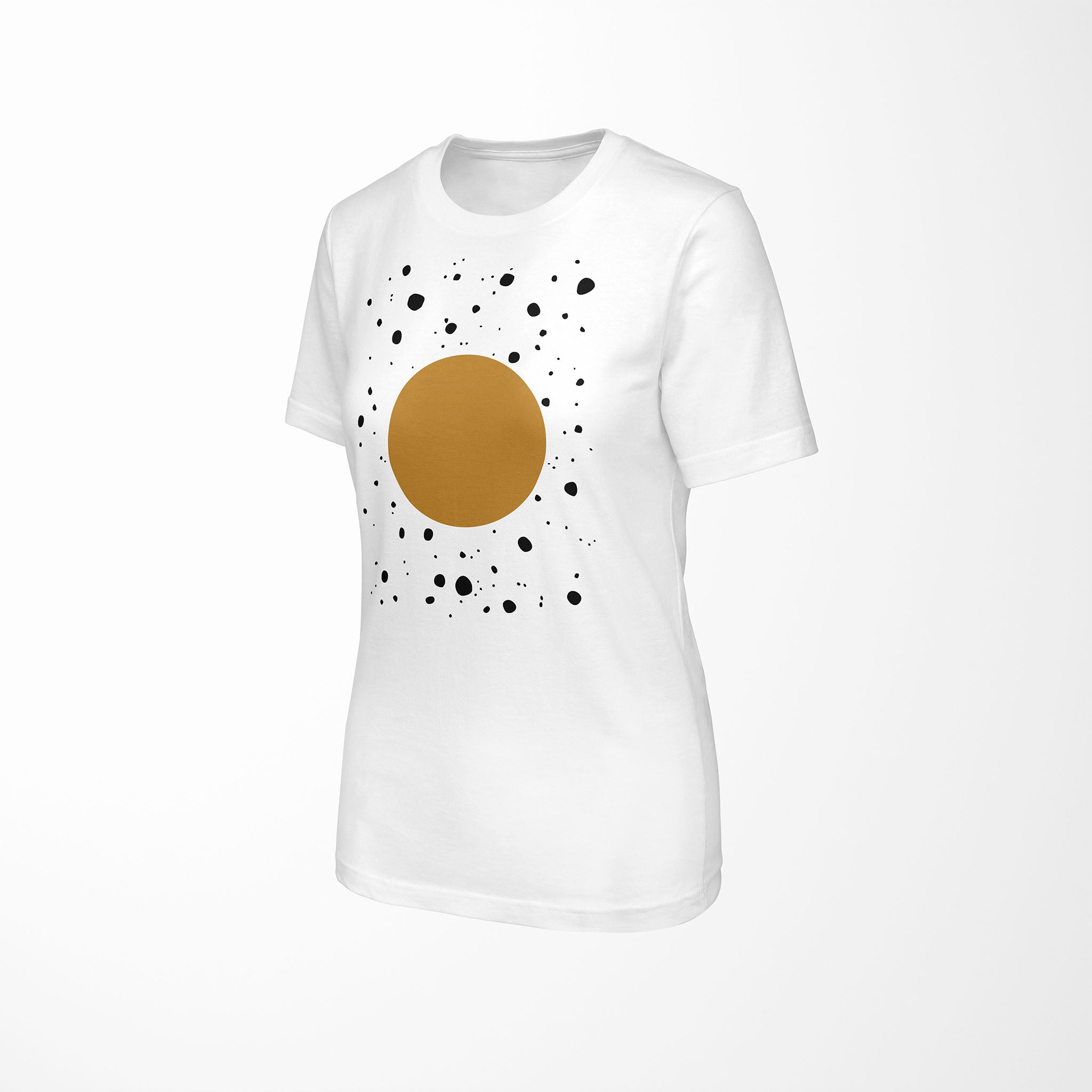 white relaxed fit women's t-shirt with explode print angle view