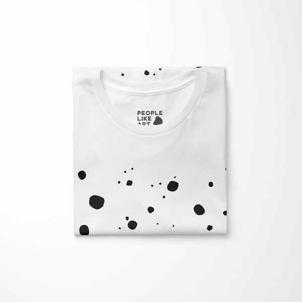 white relaxed fit women's t-shirt with explode print folded