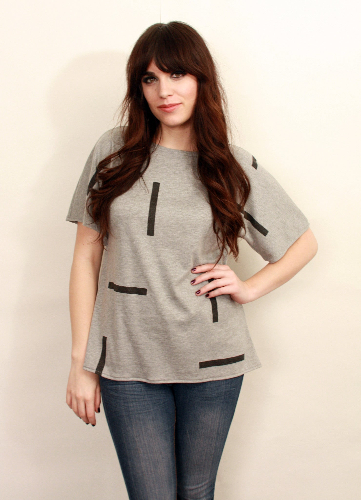 Gray T Shirt With Bars Print  Wholesale