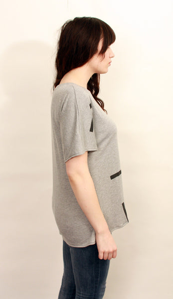 Gray T-Shirt with Bars Print--Wholesale