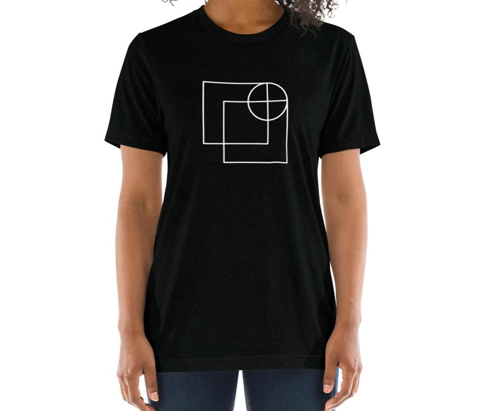 black relaxed fit t-shirt with architect print on model
