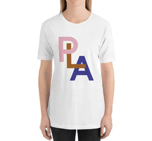 PLA Relaxed Fit Women's 100% Cotton White T-Shirt on model