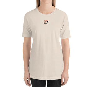 LOGO Relaxed Fit Women's 100% Cotton Cream T-Shirt on model