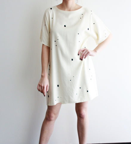 Off White Speckle Print Dress