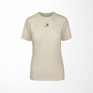 LOGO Relaxed Fit Women's 100% Cotton Cream T-Shirt front