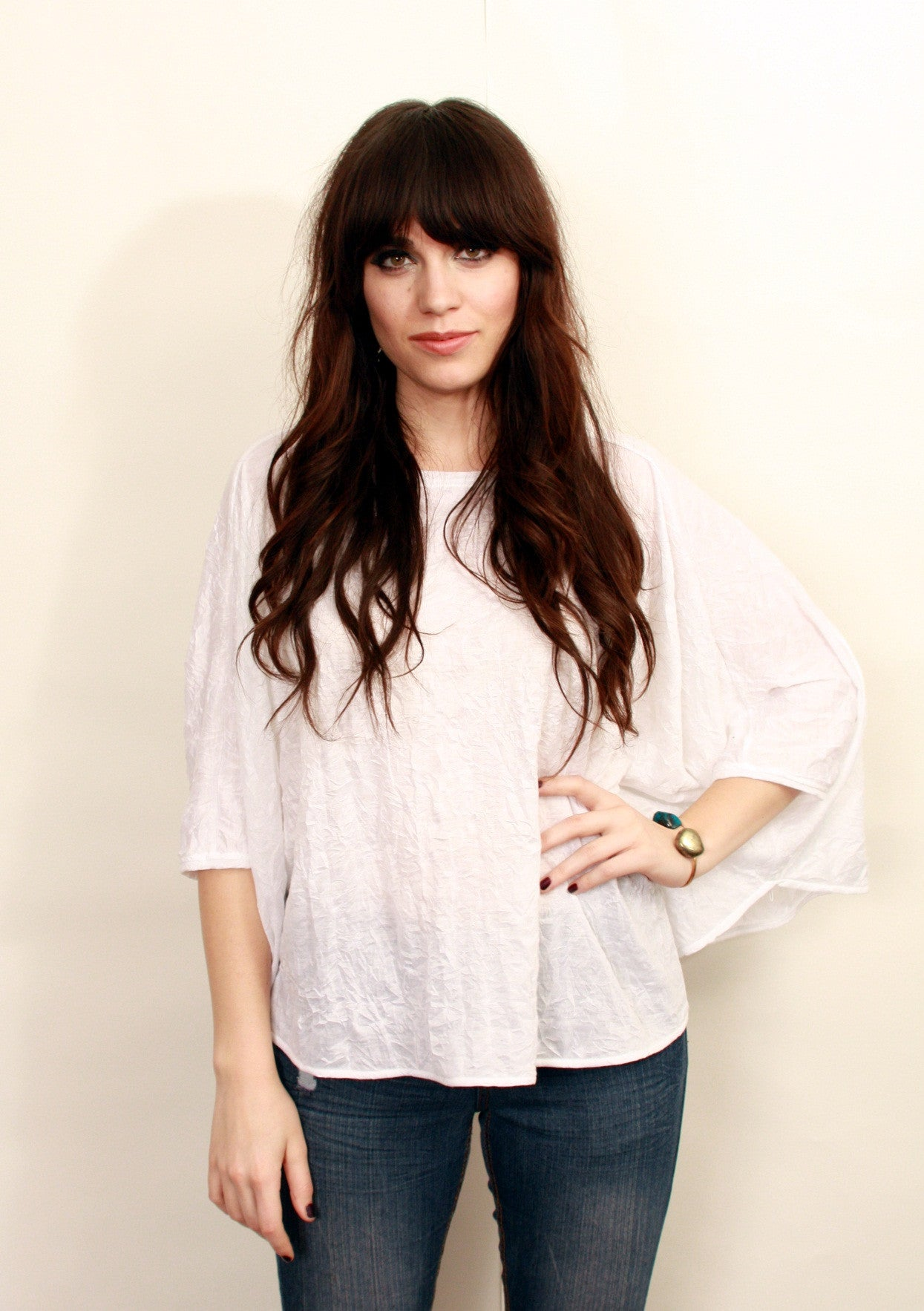 White Crinkle Knit Poncho Top  Wholesale