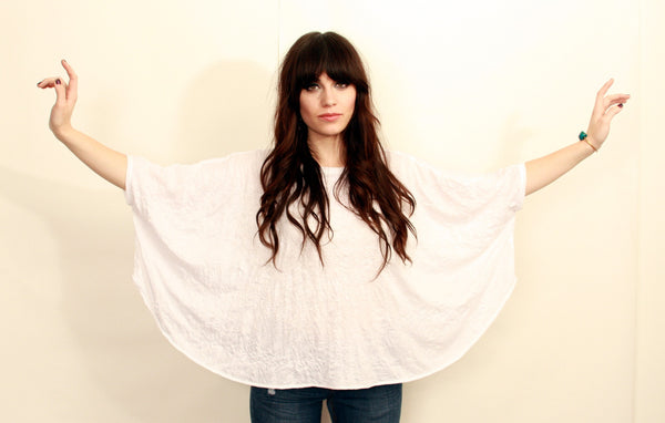 White Crinkle Knit Poncho Top--Wholesale