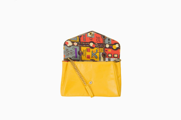 Jigsaw print envelope clutch