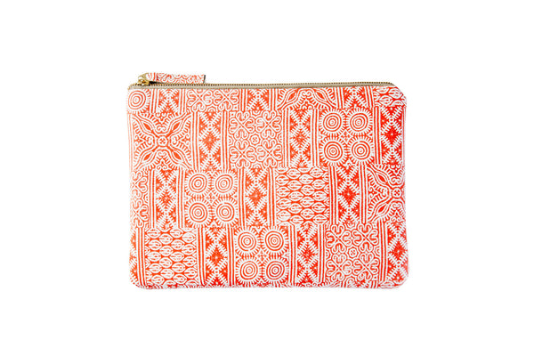 Orange printed leather pouch clutch