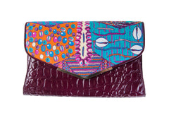Embossed croc leather clutch