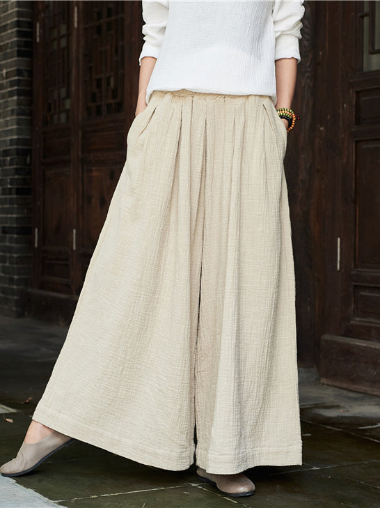 Women's Cotton Linen Soft Wide Leg Pants
