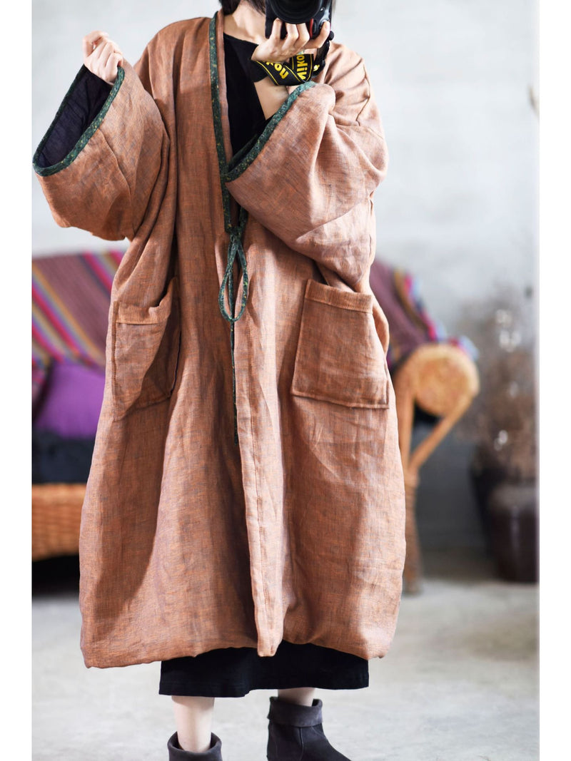 Vintage Thin Pure Color Cotton Linen Cardigan Coat