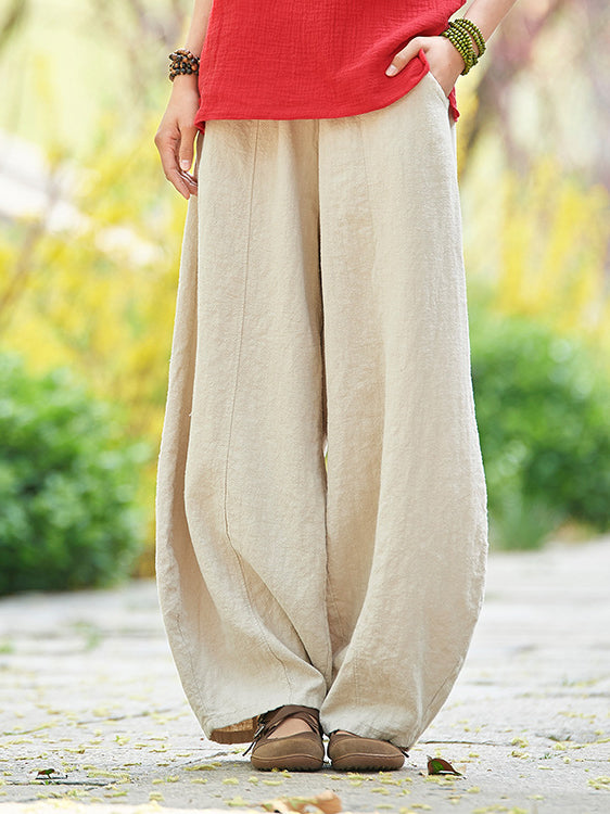 Women's Vintage Ramie Causal Pants