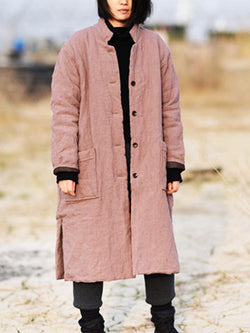 Vintage Women's Long Thickened Cotton Windbreaker Coat