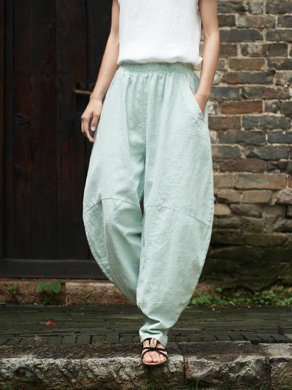 Women's Cotton Ramie Lantern Casual Pants
