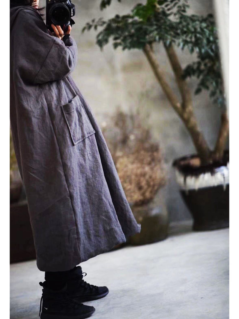 Women's Pure Linen Leisure Long Sleeve Coat
