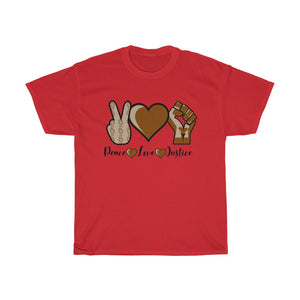 Unisex Heavy Cotton Tee Peace Love Justice