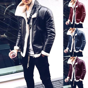 Fashion Long Sleeve Plush Faux Leather Jackets