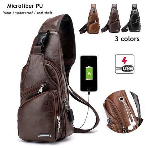 Men's Sling Shoulder Outdoor  USB Port Casual Crossbody Bag