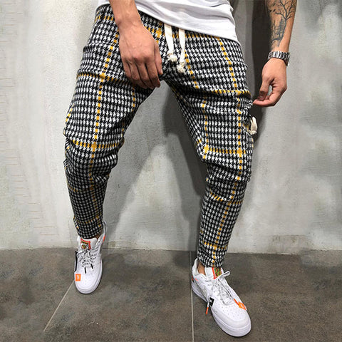 Multi-plaid Checkered Drawstring Sport Pants