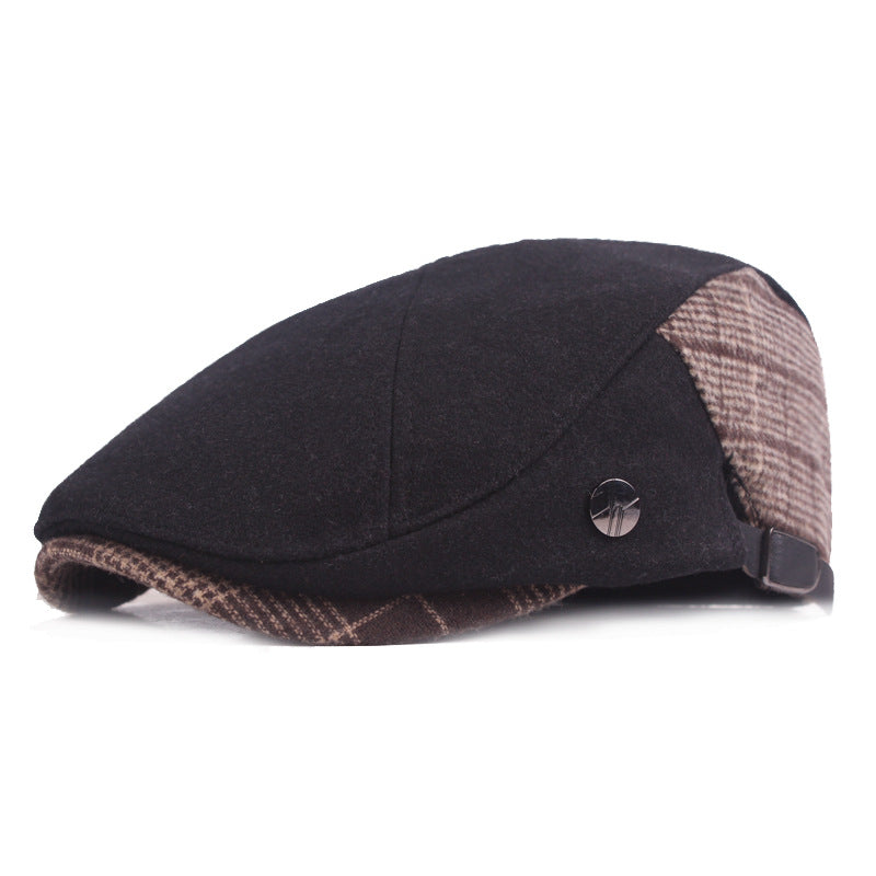 Men Retro Color Block Plaid Warm Painter Hat Fashion Beret Cap