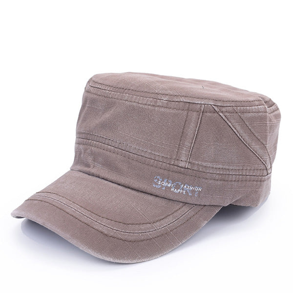 Men Washed Adjustable Flat Hats Casual Outdoor Army Cap