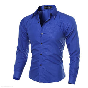 Fashion Business Slim Plain Button Long Sleeve Shirt Top
