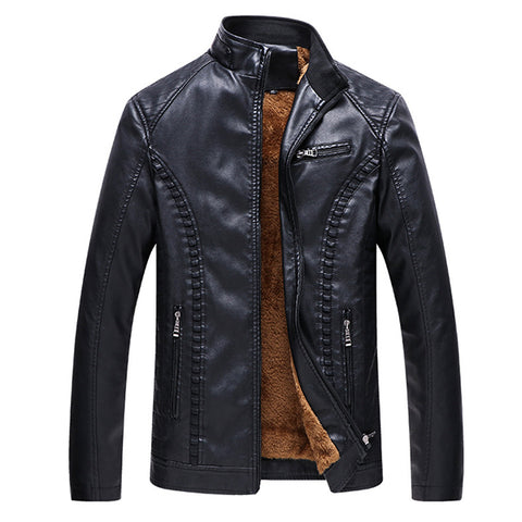 Men's Plus Velvet Warm Leather Jacket Stand Collar Coats